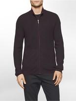Calvin Klein Merino Wool Textured Full Zip Sweater