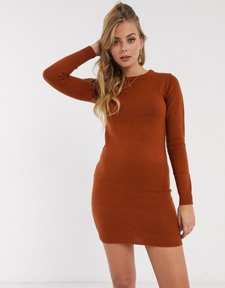Brave Soul grungy round neck sweater dress in orange