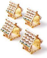 Kim Seybert Gingerbread Placemat, White Pine Sprig Napkin, & Gingerbread Napkin Rings