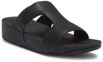 FitFlop H-Bar Shimmer Lizard-Embossed Wedge Sandal