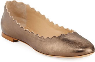 Chloé Scalloped Leather Ballet Flats