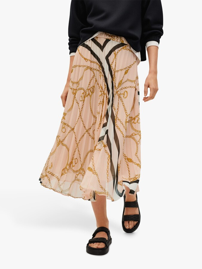 Thumbnail for your product : MANGO Chain Print Pleated Skirt, Pink