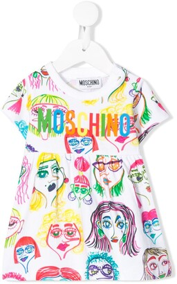 MOSCHINO BAMBINO Logo Graphic Print Dress
