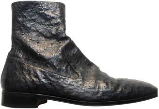 Saint Laurent Anthracite Ostrich Boots