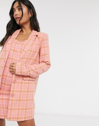 Heartbreak oversized blazer in pink and coral check