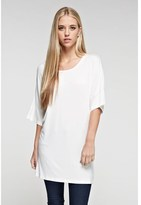 B-Sharp Collection Women's Solid Tanboocel Bamboo Tunic Short Sleeve Round Neck.
