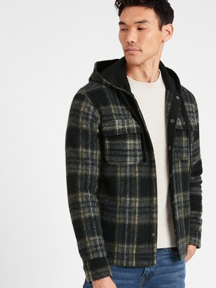 Banana Republic Plaid Hooded Shirt Jacket