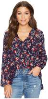 BB Dakota Andrea Fanning Floral Mixed Print Crinkle Chiffon Top Women's Clothing