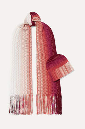 Missoni Crochet-knit Wool-blend Scarf And Beanie Set - Pink