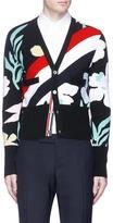Thom Browne Floral stripe intarsia cashmere cardigan
