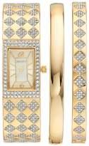 Elgin Women's Cubic Zirconia Checkerboard Bangle Watch & Bracelet Set