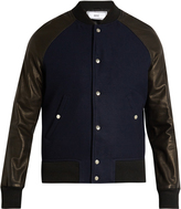 Ami Leather-sleeved bomber jacket
