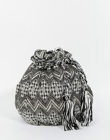 Becksöndergaard Bucket Bag in Monochrome Tapestry with Beading and Tassles
