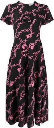 RED Valentino Chain-Link Print Midi Dress