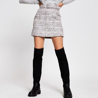 River Island Womens Grey boucle belted mini skirt