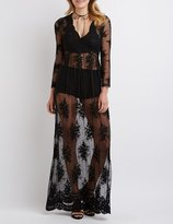 Charlotte Russe Embroidered Mesh Maxi Dress