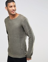 Religion Crew Neck Textured Knitted Jumper