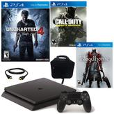 "Sony PlayStation 4 PS4 Slim 500GB Console with ""Uncharted 4,"" ""Bloodborne,"" ""Call of Duty: Infinite Warfare"" and Console Bag"
