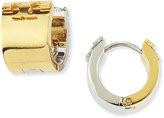 Tory Burch Reversible Two-Tone Logo Huggie Earrings