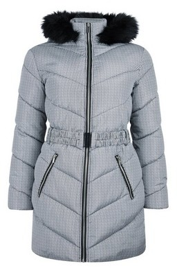 Dorothy Perkins Womens Grey Dogtooth Print Long Padded Coat, Grey