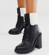 Asos Design DESIGN Wide Fit Earlsfield chunky borg lace up boots in black