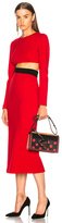 Fausto Puglisi Long Sleeve Cut Out Dress in Red.