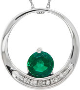 FINE JEWELRY Lab-Created Emerald and Diamond-Accent Circle 14K White Gold Pendant Necklace