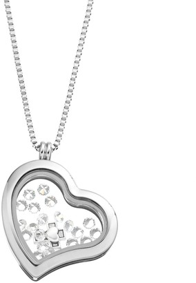 Swarovski Blue La Rue Crystal Stainless Steel 1.2-in. Heart Cross Charm Locket - Made with Crystals