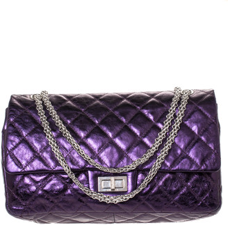 Chanel Metallic Plum Quilted Leather Jumbo Reissue 2.55 Classic 227 Flap Bag
