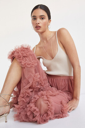 Anthropologie Felicity Ruffled Tulle Midi Skirt By in Pink Size S