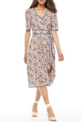 Gal Meets Glam Isadora Floral Cascade Wrap Dress (Regular & Plus Size)