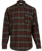 River Island MensRed check zip sleeve shirt
