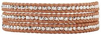 Chan Luu Peach Leather Mix Wrap Sterling Silver Plated Nugget Bracelet