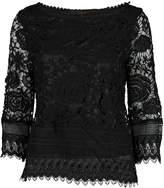 Max Sport Women's Blouses BLACK - Black Lace Long-Sleeve Top - Women