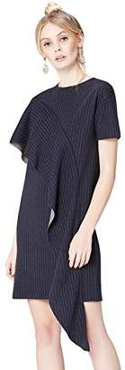 find. Women's Dress with Pinstripe Ruffle Drape, Short Sleeves and Striped, 14 (Manufacturer size: Large)