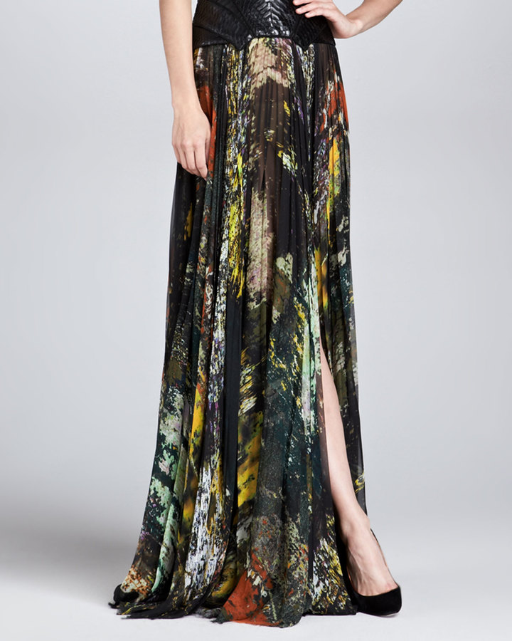 J. Mendel Abstract-Print Pleated Silk Maxi Skirt