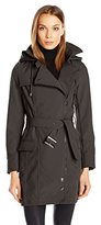 Nanette Lepore Women's Softshell Belted Trench with Asymmetrical Zip Closure