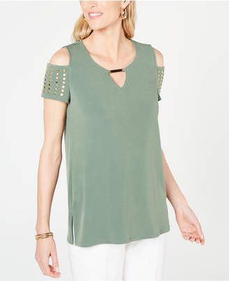 JM Collection Petite Studded Cold-Shoulder Keyhole Top