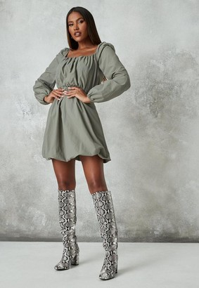 Missguided Ruched Puff Ball Mini Dress