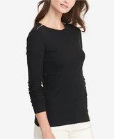Lauren Ralph Lauren Zip-Shoulder Long-Sleeve T-Shirt