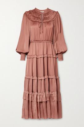 Ulla Johnson Serena Ruffled Tiered Satin Midi Dress - Antique rose