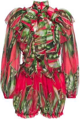 Dolce & Gabbana Pussy-bow Ruffle-trimmed Silk-organza Playsuit