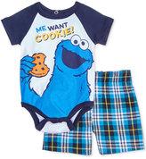 Nannette 2-Pc. Me Want Cookie Cookie Monster Bodysuit & Plaid Shorts Set, Baby Boys (0-24 months)