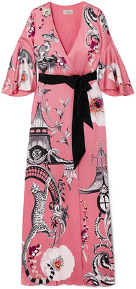 Temperley London Euphoria Printed Satin-crepe Maxi Wrap Dress