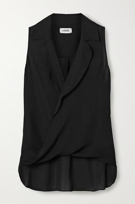 L'Agence Freja Wrap-effect Silk-georgette Blouse - Black