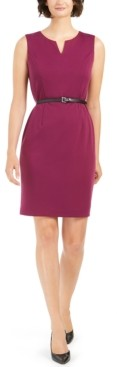 Nine West Split-Neck Belted Sheath Dress