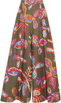Peter Pilotto Printed Cotton-blend Wide-leg Pants - Army green
