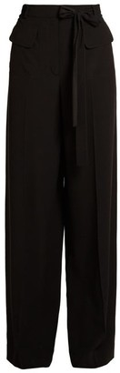 Valentino Tie-waist Wide-leg Silk Crepe De Chine Trousers - Womens - Black