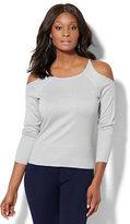 New York & Co. 7th Avenue - Rhinestone Lurex Cold-Shoulder Sweater