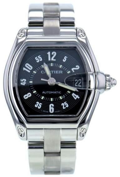 Cartier Roadster 2510 Stainless Steel Black Dial Quartz 36mm Men's Watch